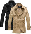 KAF1035 New Mens Casual Double Breasted Trench Slim Fit Coats Jackets