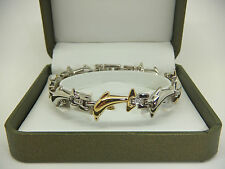 Womens Dolphin Shaped Gold & Silver Colour Magnetic Bracelet Gift Arthritis