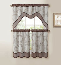 Chocolate Brown 3-Pc Kitchen Window Curtain Set: Two-Layer Sheer, Vine Embroider