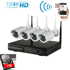 Wireless 4CH 720P HD NVR IP Network CCTV Home Security WIFI IP Camera System 1TB