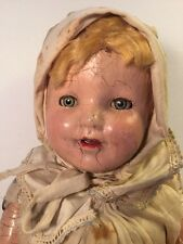Composition Doll Cloth Shirley Temple Dimples Tin Eyes Unmarked Needs Repair