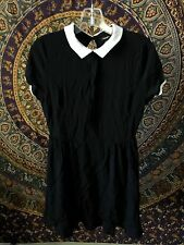 Forever 21 XXI Black Collared Dress Size Large Wednesday Addams Goth