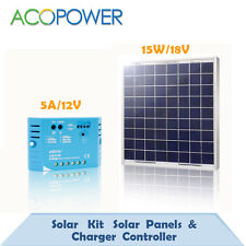 15W Poly Solar Panel +5A PWM Charge Controller For 12 V Battery Charger