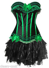 Cabaret Can Can Burlesque Corset & Ruffle Skirt Costume - Regular Sizes