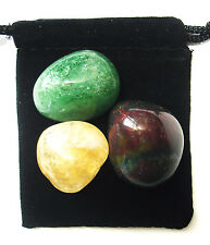 ARIES ZODIAC / ASTROLOGICAL Tumbled Crystal Healing Set = 3 Stones + Pouch +Card