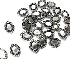 35 x Tiny Silver Plated Oval 6mm Cabochon Setting Frame Embellishment Decoration