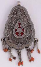 Afghan Turkman sterling silver Coral vintage Tribal pendant HUGE ethnic unique