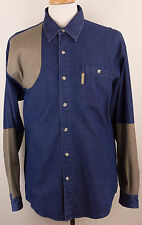 Columbia Long-Sleeve Button-Front Blue Denim Shooting Hunting Shirt Mens Large L