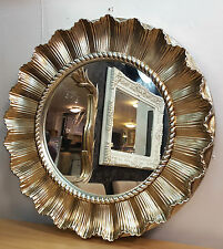 Round Carved Wall Mirror Ornate Champagne Silver French Shell Style 85cm unique