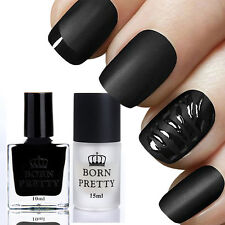 BORN PRETTY 10ml Gloss Black Nail Art Polish 15ml Matte Surface Top Coat Set