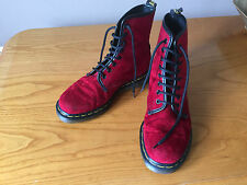 Vintage  Dr Martens 1460 red Velvet  boots UK 5 EU 38 Made  England Vegan.