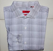HUGO BOSS RED LABEL MENS GRAY,PLAIDS AND CHECKS BUTTON FRONT SHIRT,COTTON,SZ 16
