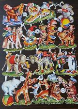 Rare Vintage Circus Animal Embossed Die Cut Thin Paper Full Sheet FAS #3143