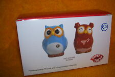 TOPSY TURVY SALT AND PEPPER SHAKERS - OWLS, MADE BY MIDWEST CBK, NEW