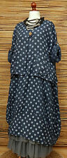 LAGENLOOK LINEN AMAZING BOHO 2 PCS DOTS DRESS+JACKET*NAVY*SIZE XL BUST UP TO 52""