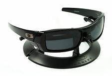 OAKLEY GASCAN POLISHED JET BLACK FRAME W/ STEALTH BLACK POLARIZED CUSTOM LENSES
