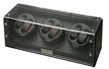 Diplomat Black Wood Six 6 Automatic Watch Winder Carbon Fiber Storage Box