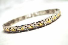 LADIES 7.5 IN. HEALING MAGNETIC THERAPY LINK BRACELET: Silver with Gold Crosses