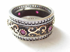 925 Sterling Silver Turkish Ottoman Hurrem Sultan Ruby Band Ring Size 8.5