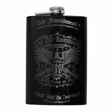 8oz BLACK 2nd Amendment Flask L1
