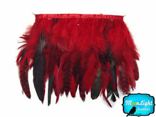 1 yard - RED Chinchilla Rooster Feathers Trim