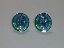 Art Deco Ladies Sterling 925 Silver Opal & Aquamarine Target Design Earrings