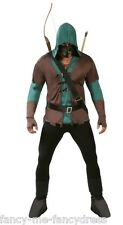 Mens 5 Pc Dark Archer Robin Hood Halloween Fancy Dress Costume Outfit Size Large