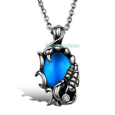 "Stainless Steel Chain Scorpion Blue Glass Men's Pendant Necklace 22"" Inch"