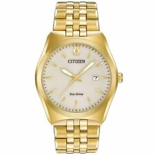 Mens Citizen Eco-Drive Gold Tone Stainless Steel Date Dress Watch BM7332-53P