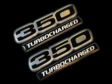 VMS 2 CHEVY TURBOCHARGED 350 CUBIC INCH ENGINE ALUMINUM EMBLEMS BLACK CHROME SBC
