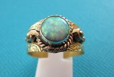 925 Silver, Brass & Copper Ring With Fire Opal  UK Size T, US Size 9.75 (rg2593)