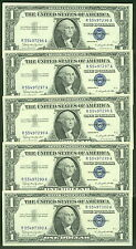$1.00 Silver Certificates, 1957B Fr. #1621 Group of 5 consecutive serial numbers