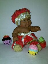 "14"" Berenguer doll/ 16"" Baby Born doll knitting PATTERN Cupcake outfit hat shoes"