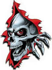 LARGE RIPPED TORN METAL SKULL VINYL CAR BIKE VAN DECAL STICKER - 220mm X 150mm
