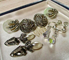 VINTAGE JEWELLERY MIXED LOT MARCASITE/CRYSTAL CLIP ON/SCREW BACK EARRINGS