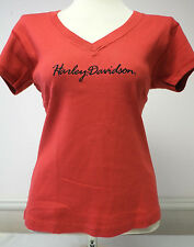Harley-Davidson Women's S/S Red Ribbed V-Neck Shirt w/ Embroidered Design XL