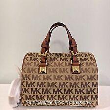 NWT Michael Kors Grayson Medium Satchel MK Signature Beige/Ebony/Luggage $298