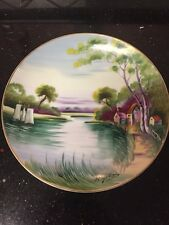 Vintage Shofu China Plate Handpainted Landscape Scene Occupied Japan River Sc.