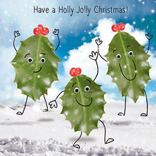 Holly Christmas Card 3D Goggly Moving Eyes 'Holly Jolly Christmas' Fun Xmas Card