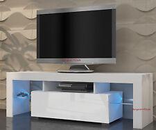 TV Schrank Lowboard Sideboard Mili 130 cm  mit LED Glasregal  Rücklicht