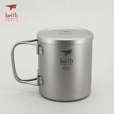 Keith Titanium Double-Wall Mug with Folding Handle and Lid - 7.4 fl oz