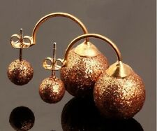 LARGE DOUBLE GLITTER SPARKLE BALL STUD EARRINGS 16MM