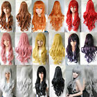 New Lady Heat Resistant 80cm Long Wavy Curly Cosplay Costume Full Wig Hair Wig