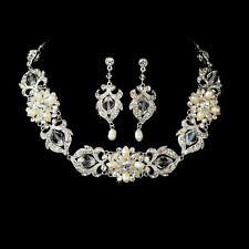 45b Stunning SP Bridal Ivory White Pearl & Clear Crystal Choker Necklace Set