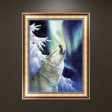 DIY 5D Diamond Wolf Howling Embroidery Painting Cross Stitch Kit Home Decor