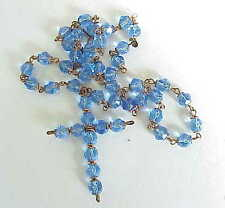 BEAUTIFUL Vintage? Blue Crystal Religious Crusifix Cross Jewelry Necklace