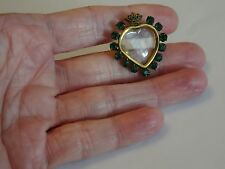 Georgian Royal green paste set heart magnigying crystal photo locket brooch pin