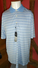 Small White & Blues Pin Stripes Short Sleeve  Play Dry Polo Shirt by Greg Norman
