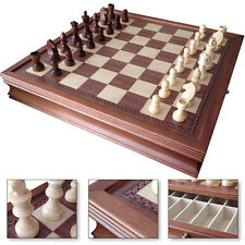 "19"" Deluxe Chess Board Game Set Drawers Storage Box Walnut Wood Finish"