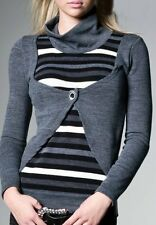 Sexy Miss Double Look Bolero Pulli Shirt Pullover Stripes 34/36/38 grau